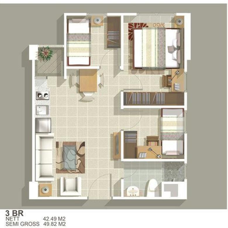 Dijual Unit Apartement Greenbay 3 kamar tower H