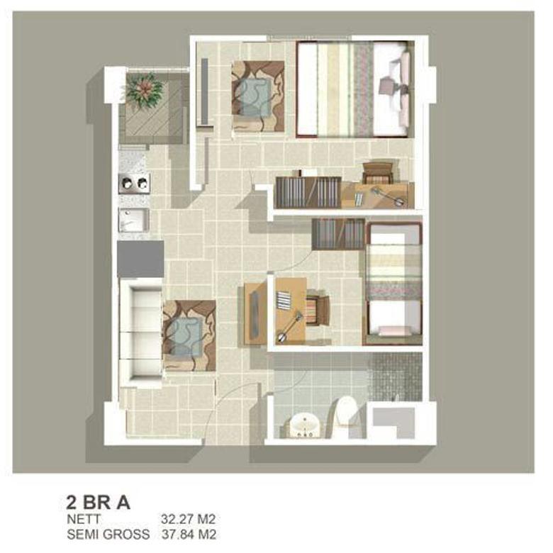 Apartemen Green Bay 2 Kamar Tower G Tahap 2 View Kota