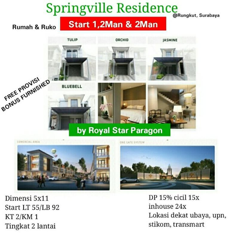 rumah dan Ruko Springville residence belakng transmart Rungkut