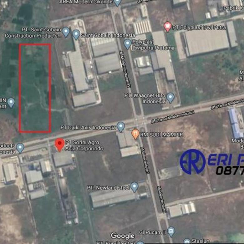 Tanah 11,1 Hektar GSB 15 Jalan Utama Modern Industri Cikande