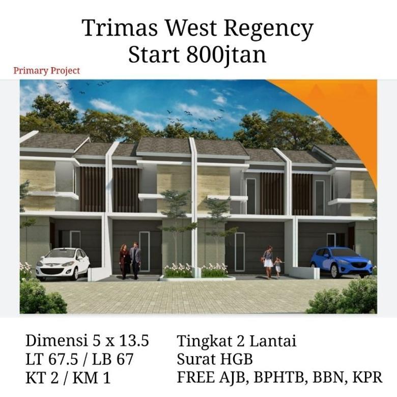 Dijual rumah Trimas west regency 800jt