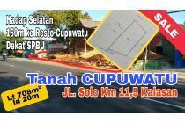 Tanah CUPUWATU 708m² ld 20m Tepi Jln utama. Dekat EXIT TOLL