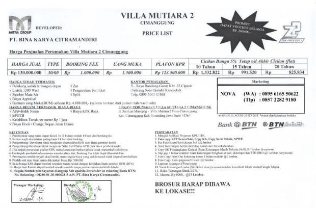 DP 1,5 JT  opening now VILLA MUTIARA 2 ( RUMAH SUBSIDI ) 19069760
