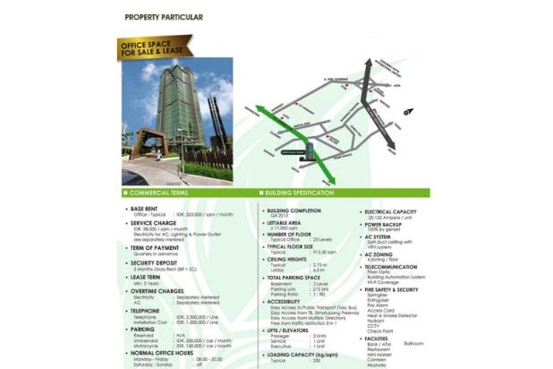 dijual cepat green office space gkm green tower, tb simatupang. kav 89g, t