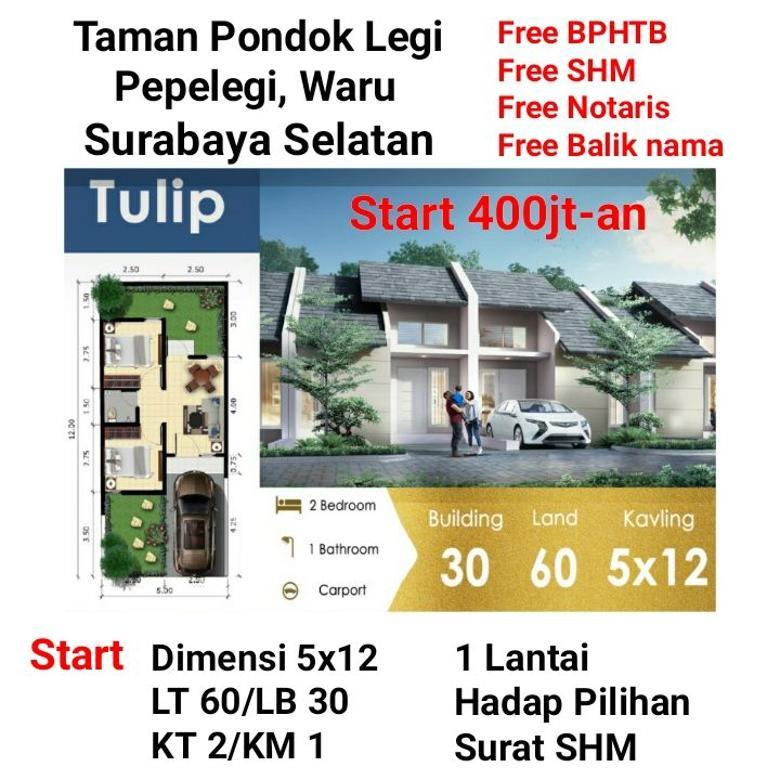 Rumah Murah Taman Pondok Legi Sidoarjo dekat Surabaya Free BPH