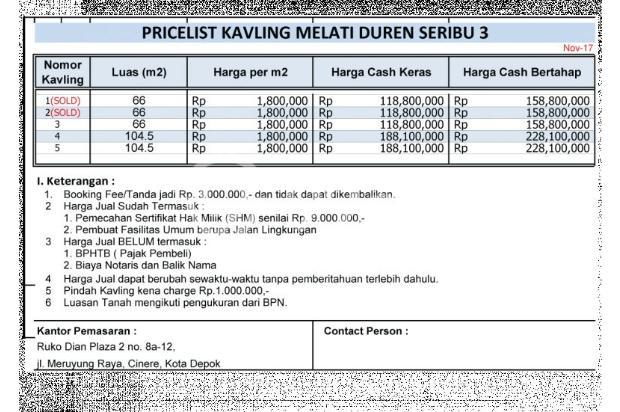 Kami Transaksikan Tanah Matang SHM-IMB: Green Melati Duren seribu 15036913