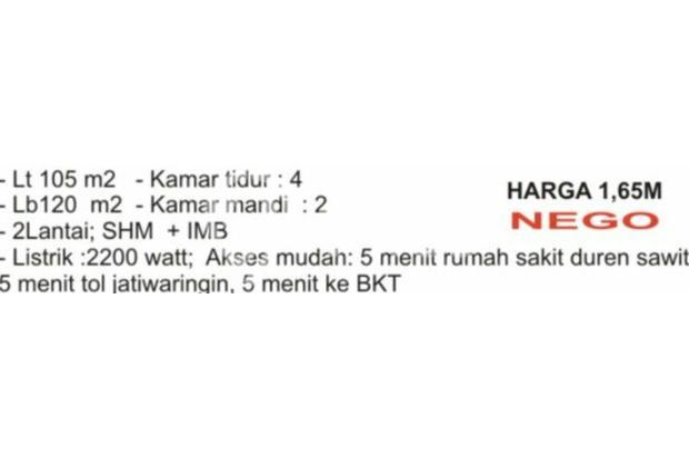 Rumah Dijual di Durent Sawit Jak-Tim 14317507