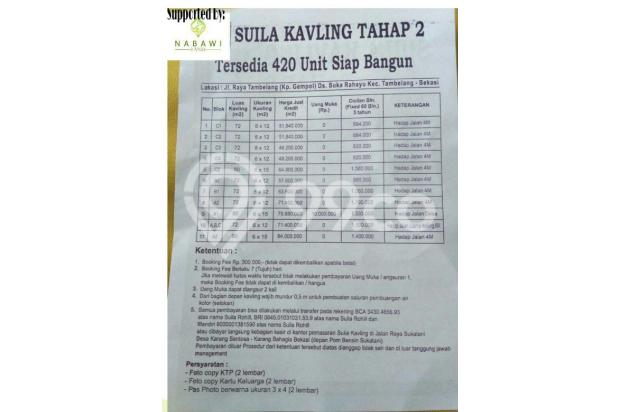 Cicilan 800Ribuan Tanpa DP | KPR Kavling Tanah Syariah Tambelang, Bekasi 15422476