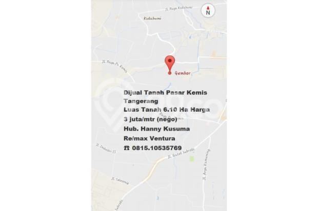 Dijual Tanah Pasar Kemis , Tangerang   Luas Tanah 6.10 Ha Cocok untuk Pabri 7339287