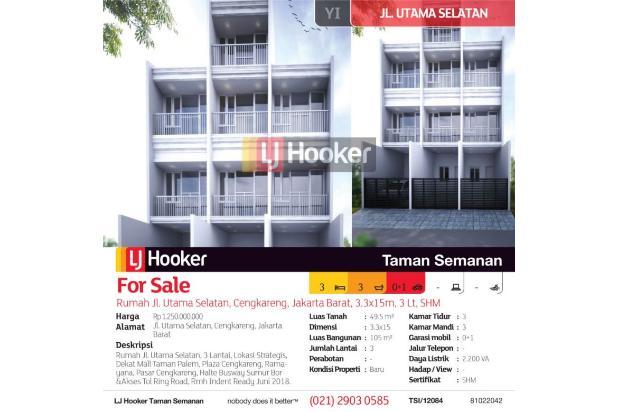 Rumah Jl. Utama Selatan, Cengkareng, Jakarta Barat, 3.3x15m, 3 Lt, SHM 16845454