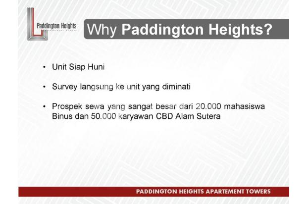 Apartemen Paddington Heights, Investasi Menguntungkan 18289632