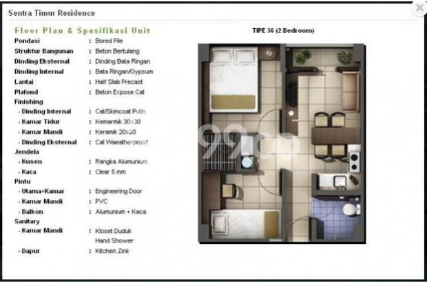 Dijual 2 Kamar Murah  Siap Huni Apartemen Sentra Timur Residence 16794390