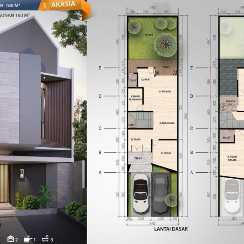 Rumah Asri di Kav Dki, Jalan Besar 12 Meter, Menghadap Taman