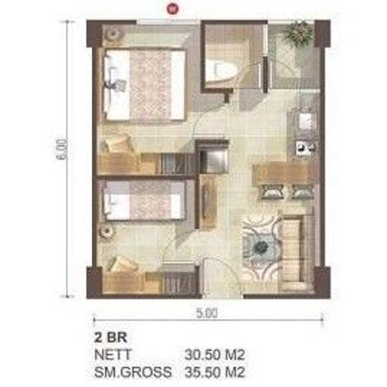 Dijual Unit Apartement Greenbay 2 kamar tower B view pool