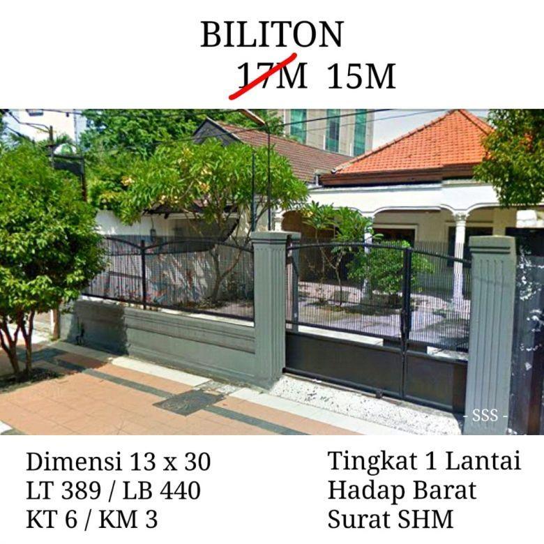 Rumah Biliton Surabaya Pusat Hadap Barat Turun Harga Luas