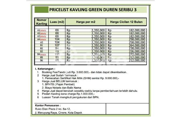 Model Kavling Cash Tempo 12X Non Bunga, Griya Asri 16226240