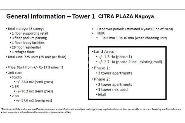 Dijual unit apartemen studio Citra Plaza Nagoya Batam 15037378