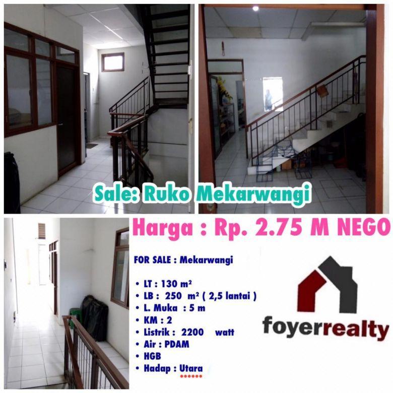 Dijual Ruko 2,5 Lantai di Daerah MEKARWANGI