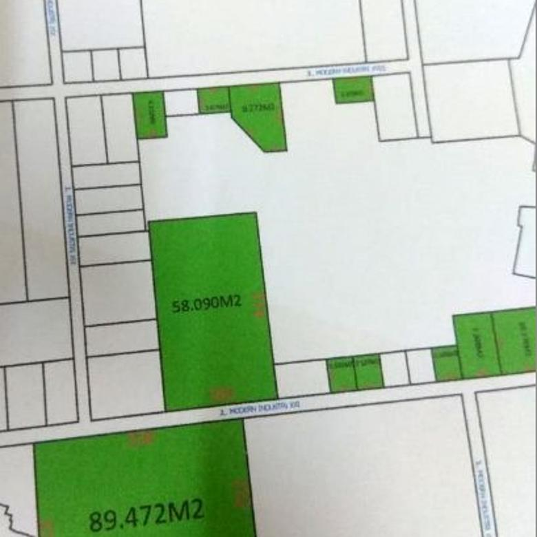 kavling kotak 9 hektar di kawasan industri Modern Cikande Serang banten,