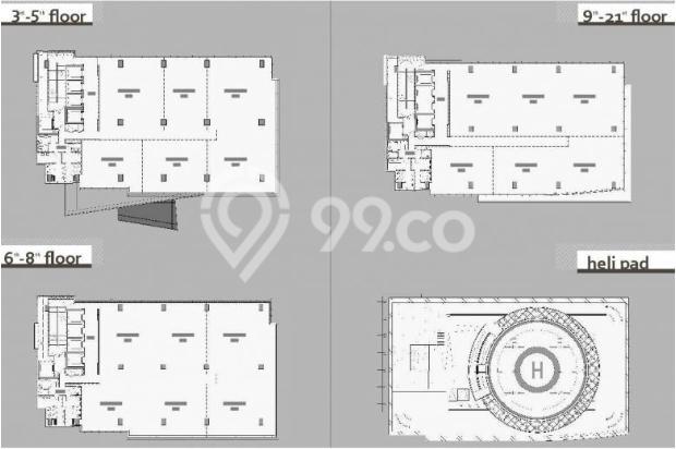 Disewakan ruang kantor, luas mulai 150 s/d 800 Sqm, di Gdg TALAVERA TOWER 6373632