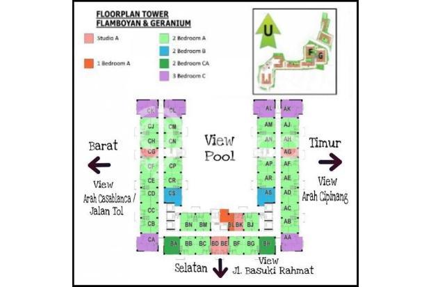 Bassura City 3 BR, Hoek, tower Flamboyan, lantai 9, Semi Furnished.. 13696504