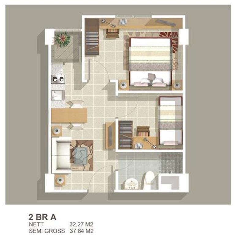 Apart Greenbay 2Kamar Tower F lt. Tinggi UnFurnish #236