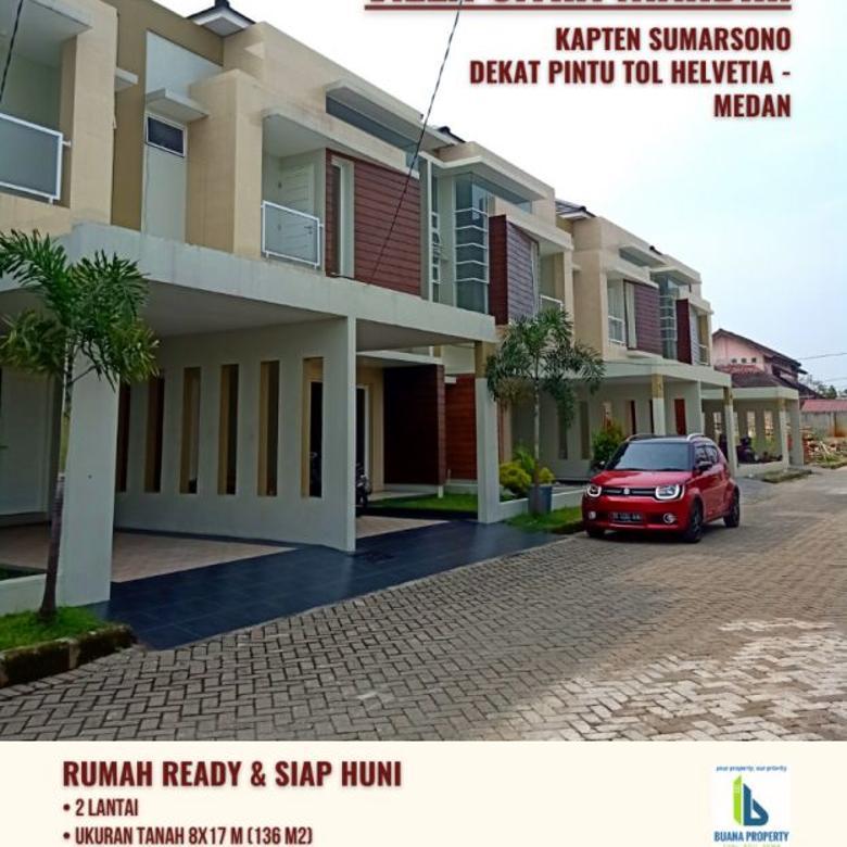 Rumah Siap Huni 2 Lantai Dekat Pintu Tol Helvetia Medan