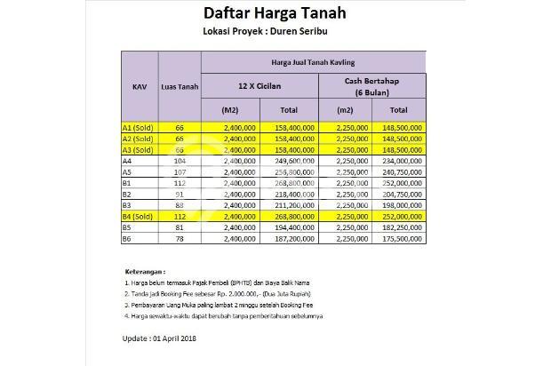 Tanah Kavling Bojongsari, Cash Tempo 12X Non Bunga 17341885