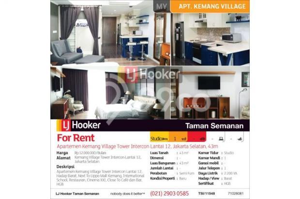Apartemen Kemang Village Tower Intercon Lantai 12, Jakarta Selatan, 43m 12900451