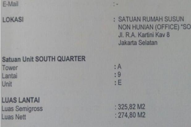 Disewakan Ruang Kantor di gedung South Quarter Jalan TB Simatupang - Jaksel 16503051