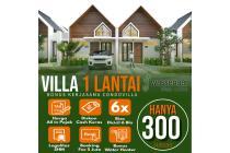 Villa 1 lantai di puncak suasana berkabut sejuk dan asri