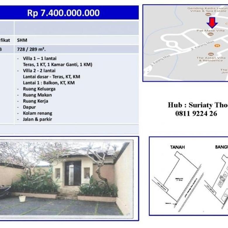 Dijual VILLA Asri dan Nyaman di Komplek PAT MASE Jln Karang Mas Sejahtera