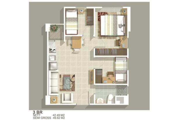 Apartemen Green Bay 3BR Furnish Tower H View Laut 15894872