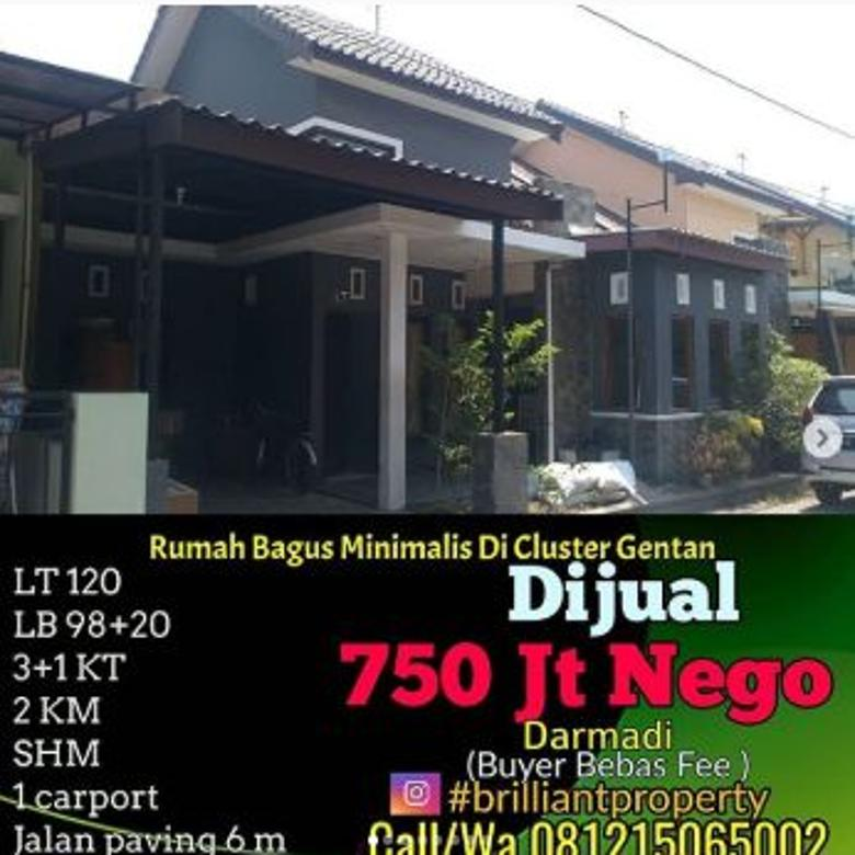 Dijual Rumah Minimalis Lokasi Strategis di Gentan, Sukoharjo