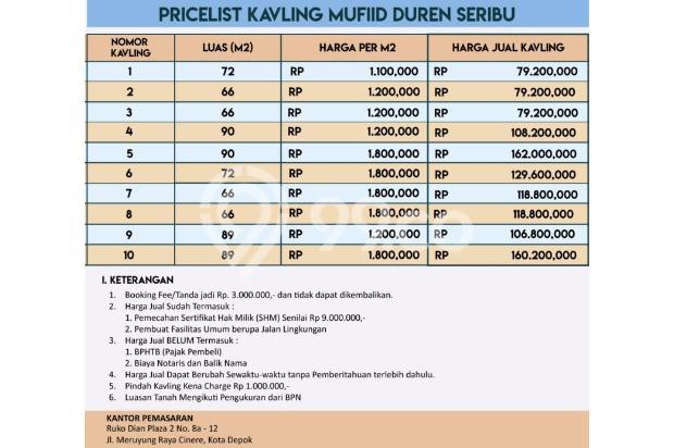 Beli Kaveling Tanah Saja di Duren Seribu, Depok : Bangun Rumah lebih Murah 13425880