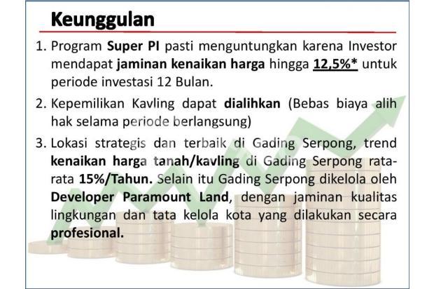 [HOT PROMO] Kavling Investasi SUPER PI @Gading Serpong!DIJAMIN UNTUNG 12,5% 21875622
