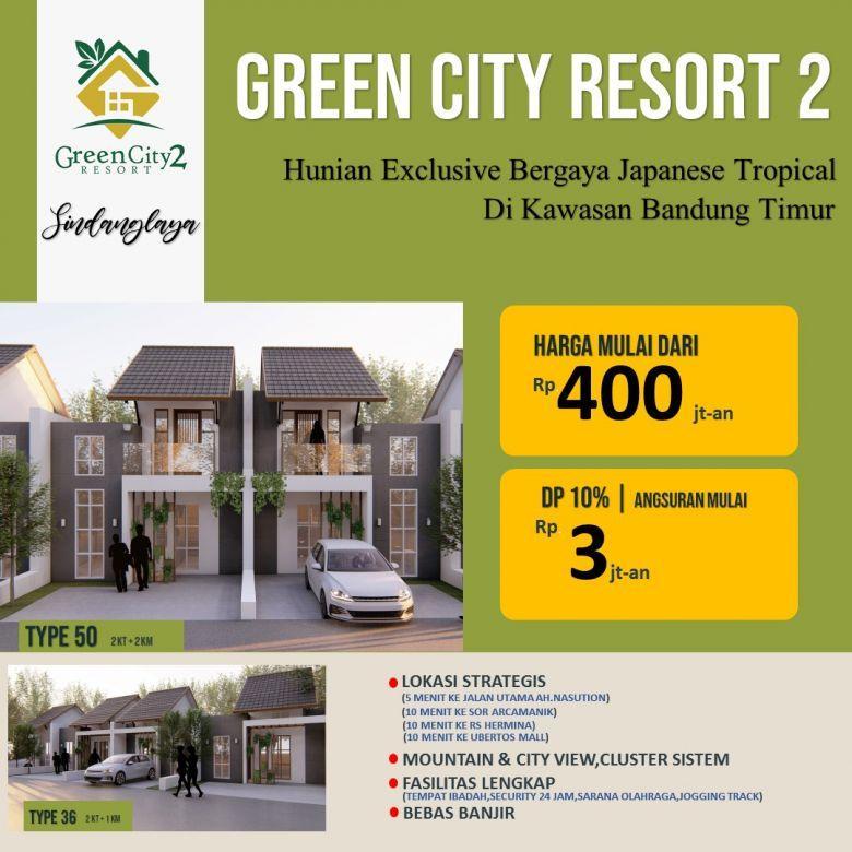 rumah view pegunungan dan kota bandung di Green City Resort 2