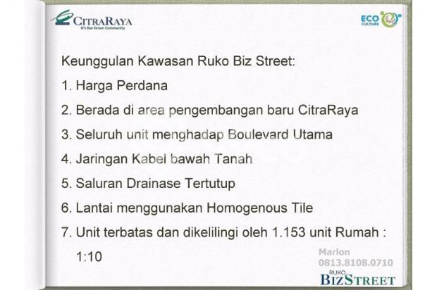 Ruko BizStreet Villaggio Citra Raya Tangerang. Harga Perdana 6882941