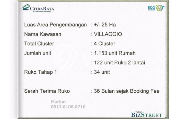 Ruko BizStreet Villaggio Citra Raya Tangerang. Harga Perdana 6882942