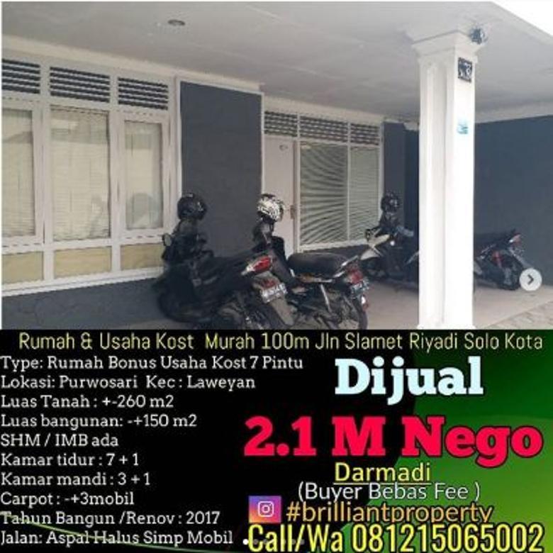 Dijual Rumah Cocok untuk Kost di Jl. Slamet Riyadi, Surakarta