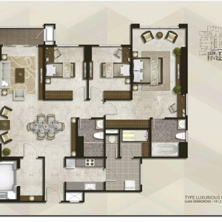 Condominium Podomoro City Deli Medan 3+1 Bedroom
