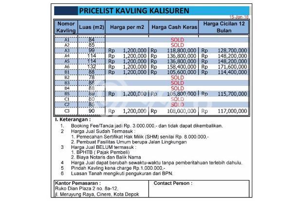 Kaveling Dijual Depok: Ringan Cuma 100Jutaan Saja di Bojongsari 15830071