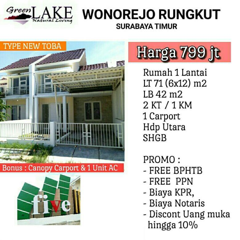 rumah greenlake wonorejo murah semi furnish free biaya