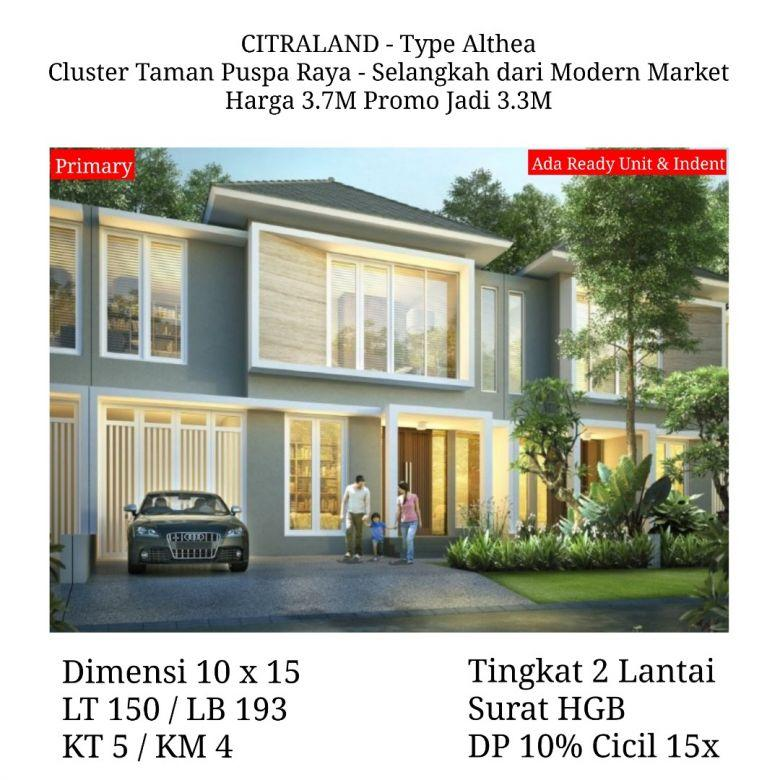 Rumah Citraland Taman Puspa Raya Althea Baru bs KPR Siap Huni