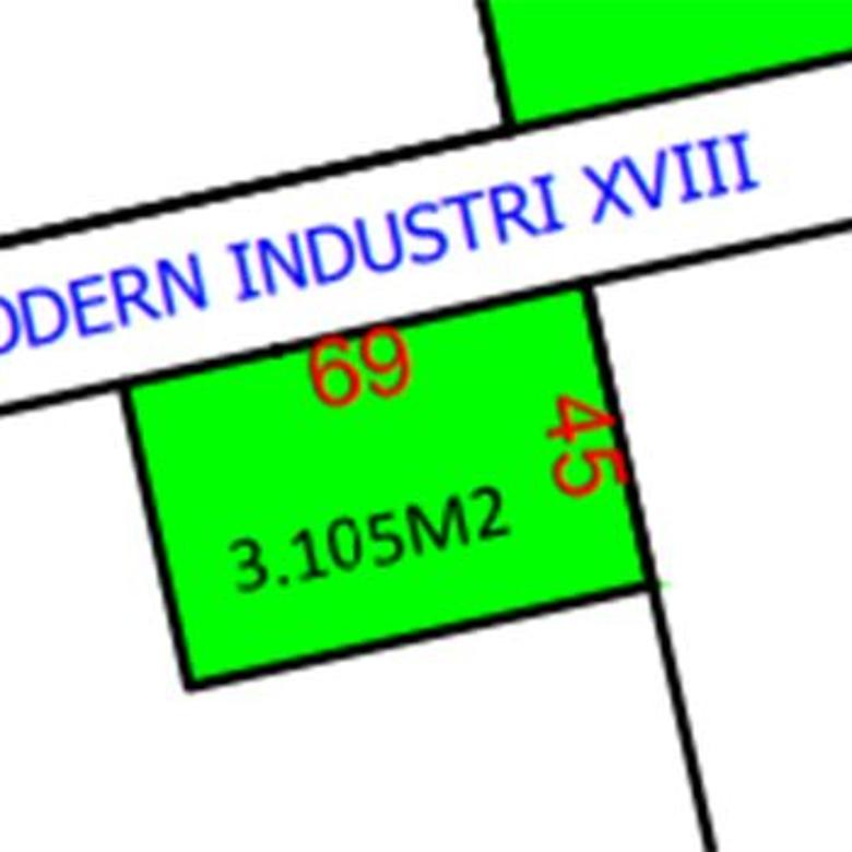 Kavling untuk Industri luas 3105 m2 lebar 69 meter di Modern Cikande Serang