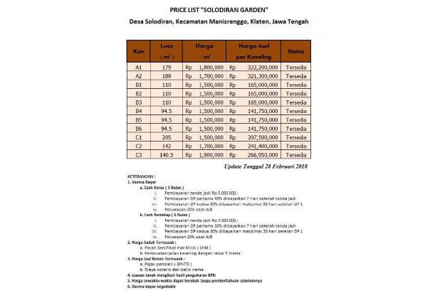 Nabung Beli Kapling Taman Solodiran, Bayar 12 X Bunga 0 % 16579075