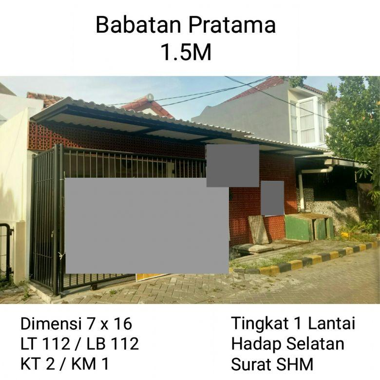 Rumah Dijual Babatan Pratama Wiyung Surabaya Barat Nyaman Tenang Nego