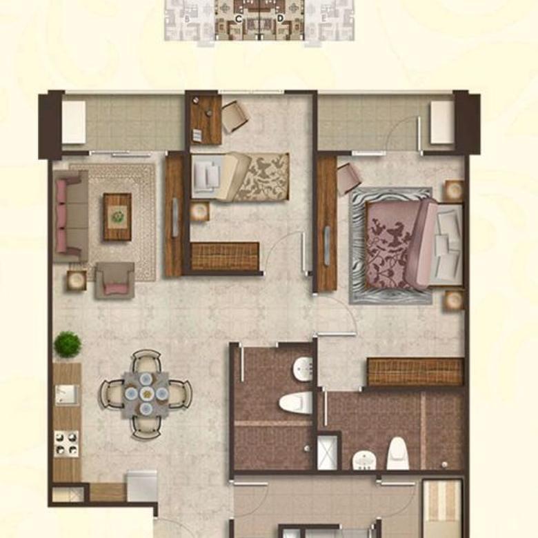 Premium Apartment Podomoro City Deli Medan Type 2+1Bedroom