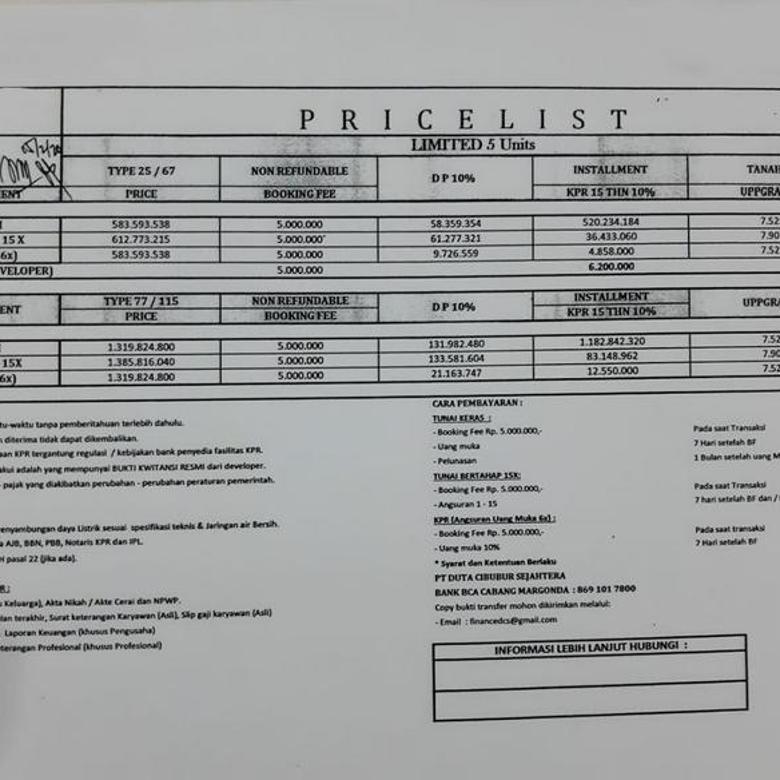Aparthouse minimalis 3 lantai Dekat Akses Toll & LRT Cimanggis Depok