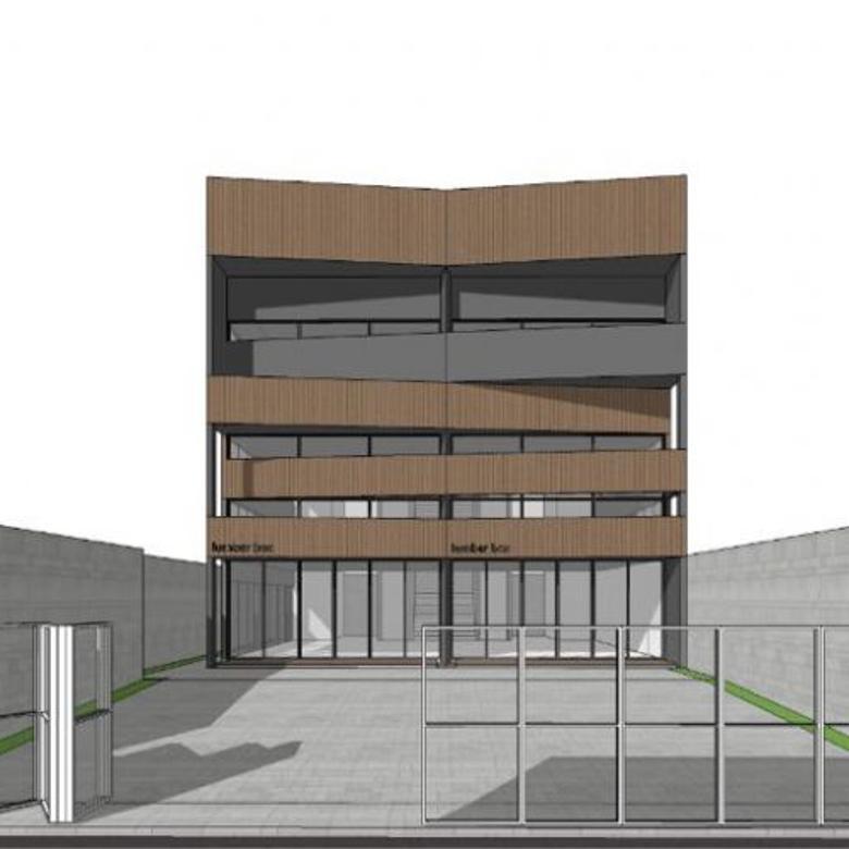 gedung depan sekolah dan rumah sakit